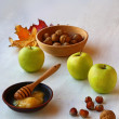 Autumn Still Life with honey, apples and nuts — ストック写真