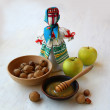 "Autumn still-life with a Ukrainian traditional doll ""motanka"" an - Stock Photo"