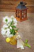 Romantic bouquet of white phloxes and a handmade decoration ang — Stock Photo