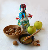 "Autumn still-life with a Ukrainian traditional doll ""motanka"" an — Stock Photo"