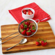 Breakfast with a fresh strawberry with curd — Stock Photo