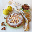 Still life with autumn pie apples, nuts and honey as a symbol of — Stock Photo