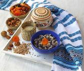 Closeup on traditional Christmas kutia dish — Stock Photo