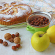 Autum still life with cake and apples, hazel, nut — Stock Photo