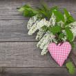 White bird-cherry tree flowers on a wooden background — Stock Photo