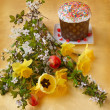 Still-life with Easter cake (kulich) — Stock Photo