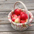 Rural still life with a white basket of apples — Stock Photo