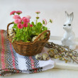 Easter still life with pink daisies and willow branches — Stock Photo