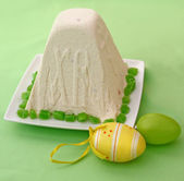 Curd paskha, easter eggs — Stock Photo