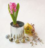 Easter still life with the pink hyacinth — Stok fotoğraf