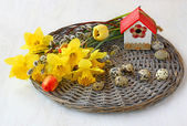 Easter still life with daffodils and tulips — Stock Photo