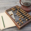 Old abacus, the paper with a pencil next to  lamp — Stock Photo