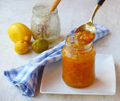 Quince jam against the background of ingredients — Stock Photo