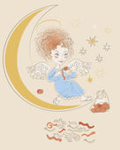 Angel with mandarins — Stock Vector
