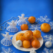 White plate with mandarin — Stock Photo