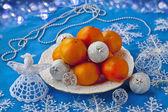 Mandarin and Christmas decor — Stock Photo