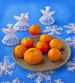 Tray with mandarin — Stock Photo