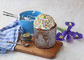 Easter cake and flower iris — Photo