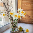 Daffodils, willow twigs and quail eggs — Stock Photo #38106887