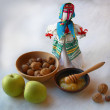 "Autumn still-life with Ukrainitraditional doll ""motanka"" — Stock Photo #38310067"