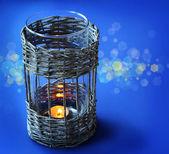 Ročník proutěný lampa — Stock fotografie