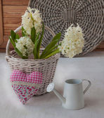 White hyacinths and heart — Stock Photo