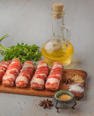 Meat rolls and spices — Stock Photo