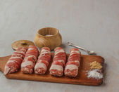 Meat rolls and spices — Stockfoto