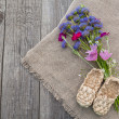 Rural still life with a bouquet of blue flowers and decorative s — Stock Photo