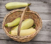 Korb mit frischen zucchini — Stockfoto
