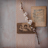 Background with two vintage photos — Stock Photo