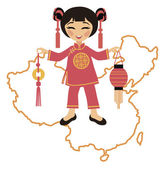 Chinese girl with lantern — Stock Vector