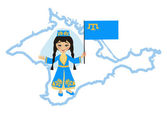 Girl in the Crimean Tatar national costume — Stock Vector