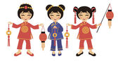 Chinese women with lanterns — Stock Vector