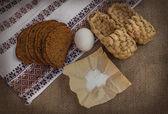Rye bread, egg and salt — Stock Photo