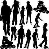 Rollerblade silhouettes — Stock Vector