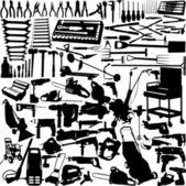 Große sammlung von werkzeugen — Stockvektor