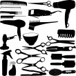 Hairdressing related symbols - Stock Vector