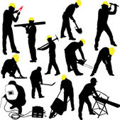 Workers silhouettes collection — Stock Vector