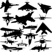 Colección de aviones militares — Vector de stock