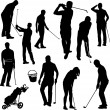 Stock Vector: Golf players silhouettes