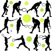Tennis player collection — Stock Vector