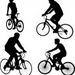 Bicyclists silhouettes — Stock Vector