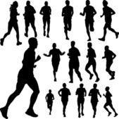 People running — Stock Vector