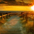 Foto Stock: Sunset beach-This photo made by hdr technic
