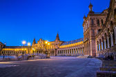 Plaza de Espana in Sevilla at dusk — Foto de Stock