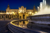 Plaza de Espana in Sevilla at dusk — Stock Photo
