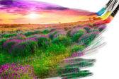 Artysty pędzla malarstwo obraz piękny krajobraz — Zdjęcie stockowe