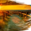 Artist brush painting picture of beautiful landscape - Foto Stock
