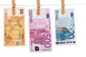 Euro money laundering — 图库照片